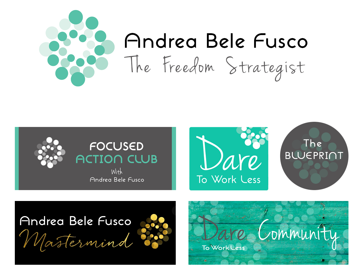 How to create great sub branding inspired to inspire andrea bele fusco is a freedom strategist and business coach her logo is an entwining spiral of contrasting opacity circles in empowering light jade which malvernweather Choice Image